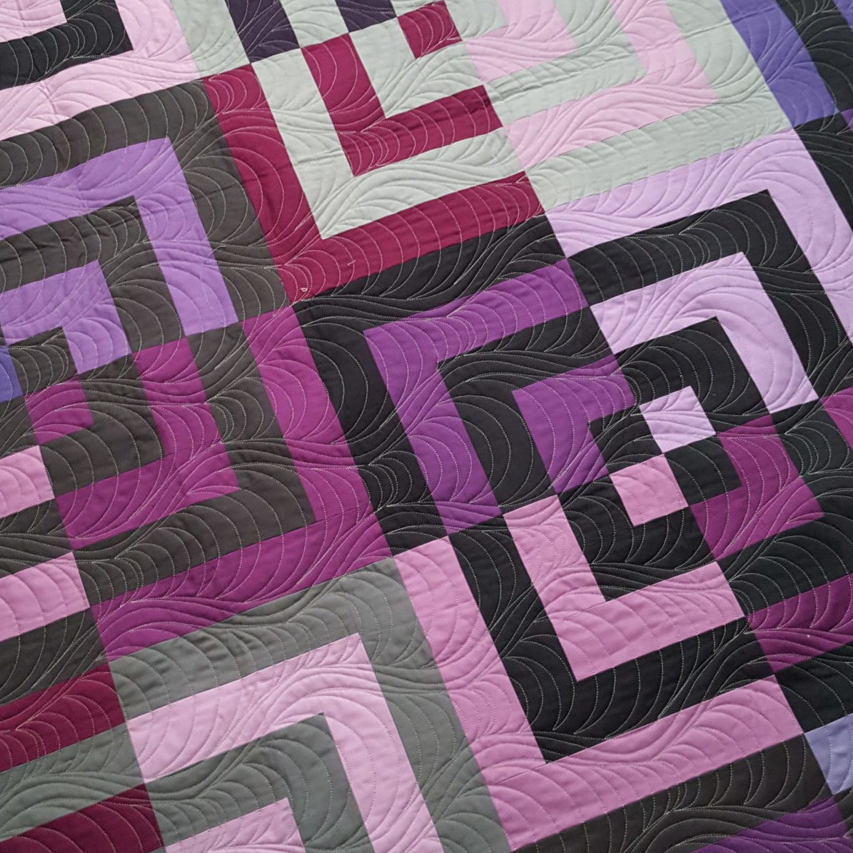 Purple and Black Quarter Log Cabin quilt